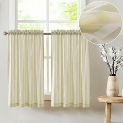 Tier Curtains Striped Sheer for Kitchen Window Curtain Rod P