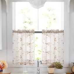 Lazzzy Tier Curtains Taupe Kitchen Cafe Floral Embroidered S