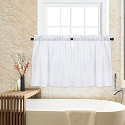 Tier Curtains for Kitchen, Waffle Woven Textured Short Windo