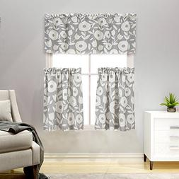 3 Pieces Tier Curtains and Valances Set Floral Printed Kitch