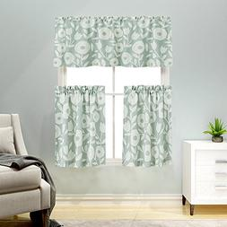 3 Pieces Kitchen Curtains and Valances Set Floral Printed Ti