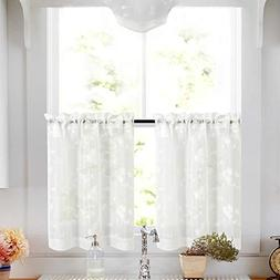 Tier Curtains White 36 Inch Length Kitchen Cafe Floral Embro