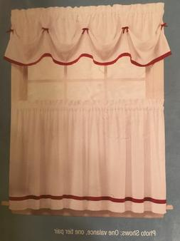 """Essential Home Tier Pair 57/36"""" 'Kate' White Berry Ribbons C"""