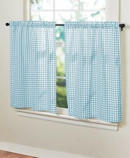 Tier Pair Window Curtain Aqua Blue Gingham Checkered Country