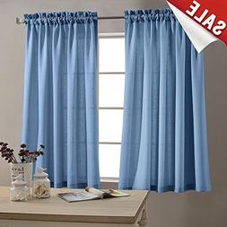 45 Inch Tiers Curtains Semi Sheer Kitchen Curtains Privacy C