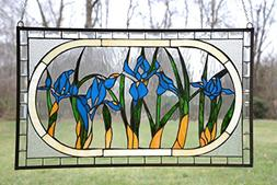 "34.75"" x 20.5"" Large Tiffany Style stained glass Beveled win"