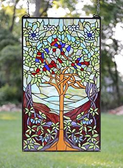 "20"" x 34"" Tiffany Style Stained Glass Window Panel Tree of L"