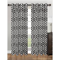 Kashi Home Tori 55 x 84 Polyester Curtain Panel Grommets Bla