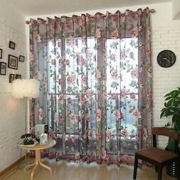 Transparent Butterfly Curtains Pastoral Voile Kitchen Window
