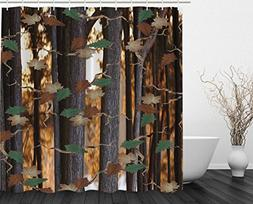 Ambesonne Nature Tree and Leaves Decor Collection, Woodsy Fa