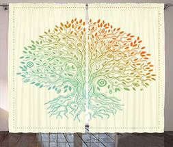 Ambesonne Tree of Life Decor Collection, Vintage Tree of Lif