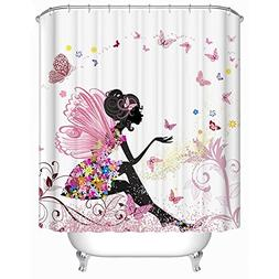 GWELL Trendy Pink Flower Fairy Girl with Butterfly Shower Cu