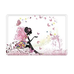 Uphome Trendy Pink Flower Fairy Girl with Butterfly Bathroom