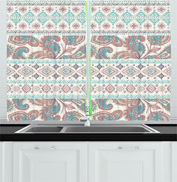 Ambesonne Tribal Kitchen Curtains, Paisley Patterns in Nativ