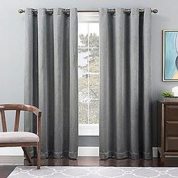 Tribeca 63-Inch Grommet Top Lined Window Curtain Panel In Bl