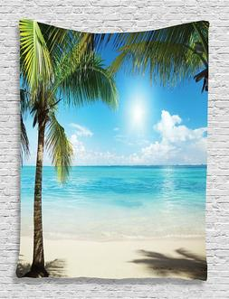 Ambesonne Tropical Decor Ocean & Palm Tree Tapestry/Wall Han