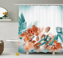 Ambesonne Tropical Decor Shower Curtain, Tropical Orchids Bl