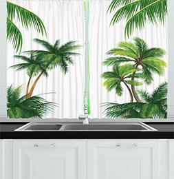 Ambesonne Tropical Kitchen Curtains, Coconut Palm Tree Natur