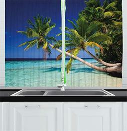 Ambesonne Tropical Kitchen Curtains, Exotic Maldives Beach w