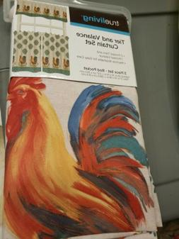 Trueliving Tier And Valance Curtain Set 3 Piece Set Rooster