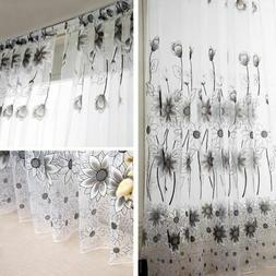 Tulle Window Curtain Embroidered Sheer For Kitchen Living Ro