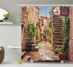Tuscan Decor Shower Curtain Set by Ambesonne, View of an Old