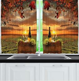 Ambesonne Tuscany Land Of Wine Decor Collection, Grape Field
