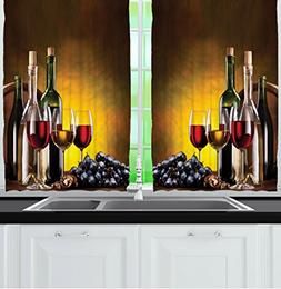 Ambesonne Tuscany Wine Land Decor Collection, Grapes Wines B