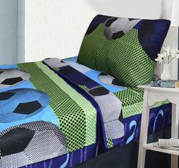 All American Collection 3 Piece Twin Size Soccer Sheet Set,
