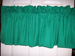 "TWO  KELLY GREEN VALANCE 42"" WIDE X 15"" LONG...3' ROD POCKET"