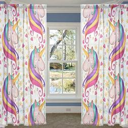 ALIREA Unicorn Sheer Curtain Panels Tulle Polyester Voile Wi