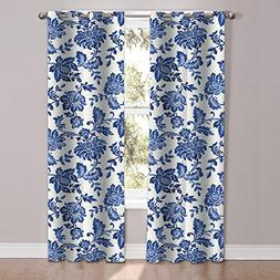 Sweet Home Collection 2 Piece Unique Stylish Navy Floral Pat