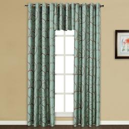United Curtain Sinclair Embroidered Grommet Curtain Panel Bl