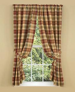 UNLINED PANEL CURTAINS 72WX63L SAFFRON COUNTRY RED SAGE GREE