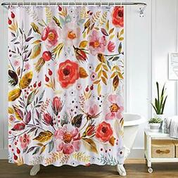 Uphome Fabric Floral Shower Curtain for Bathroom Colorful Sp
