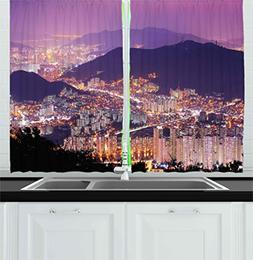 Urban Kitchen Curtains by Ambesonne, Skyline of Busan South