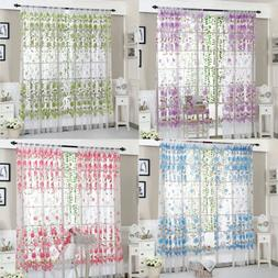 US Home Decors Kitchen Bathroom Window Curtain Floral Sheer