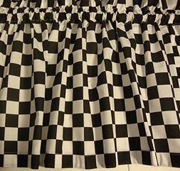 Valance Black and White Check Race Car or Fat Chef Theme Cur