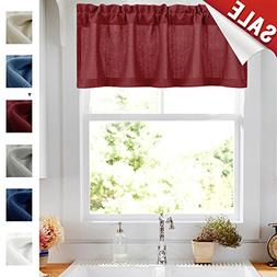 18 Inch Valance Curtains Semi Sheer Short Kitchen Curtains P