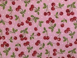 Valance Pink with Cherries Retro Style Print Kitchen Curtain