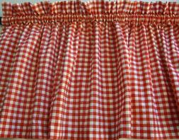 Valance Red  and White Check Curtain Gingham Cotto for Any R