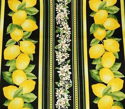 Valance Window Curtain Kitchen Lemons Flowers Stripes Black
