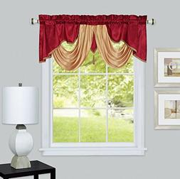 "VALARIE Fancy window valance. 54 x 18"". Faux silk with satin"
