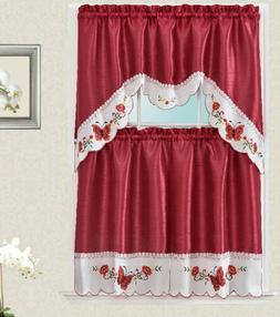 Valentina Butterfly Embroidery Kitchen Curtain with Swag and