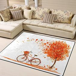 ALAZA Valentine's Day Autumn Maple Leaves Bicycle Area Rug R