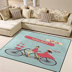 ALAZA Be My Valentine's Day Bicycle Love Heart Area Rug Rugs