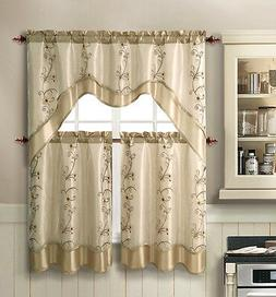 vcny daphne embroidered kitchen curtain set assorted