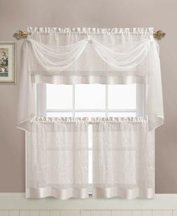 VCNY Home Linen Leaf Embroidered Complete Kitchen Curtain Se