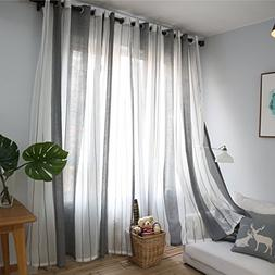 DEZENE Vertical Striped Sheer Curtains for Living Room Tulle