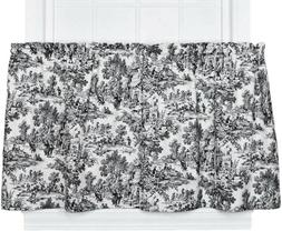 Victoria Park Toile Tier Curtain, 68 W x 24 L, Black